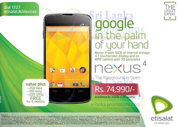 Featured image for Etisalat Google Nexus 4 Features & Price 15 Sep 2013
