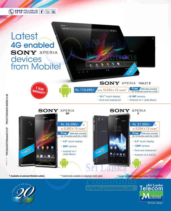 Featured image for Mobitel Sony Xperia Smartphone Offers 15 Sep 2013