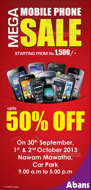 Featured image for Abans Mega Mobile Phone SALE Up To 50% Off @ Nawan Mawatha 1 – 2 Oct 2013