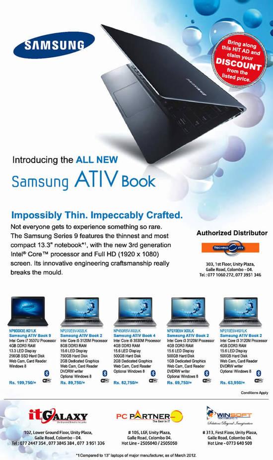 Samsung Ativ Books Notebooks Prices Amp Specs 23 Oct 2013