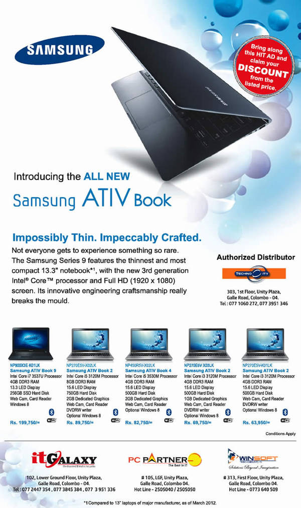 Featured image for Samsung ATIV Books Notebooks Prices & Specs 23 Oct 2013