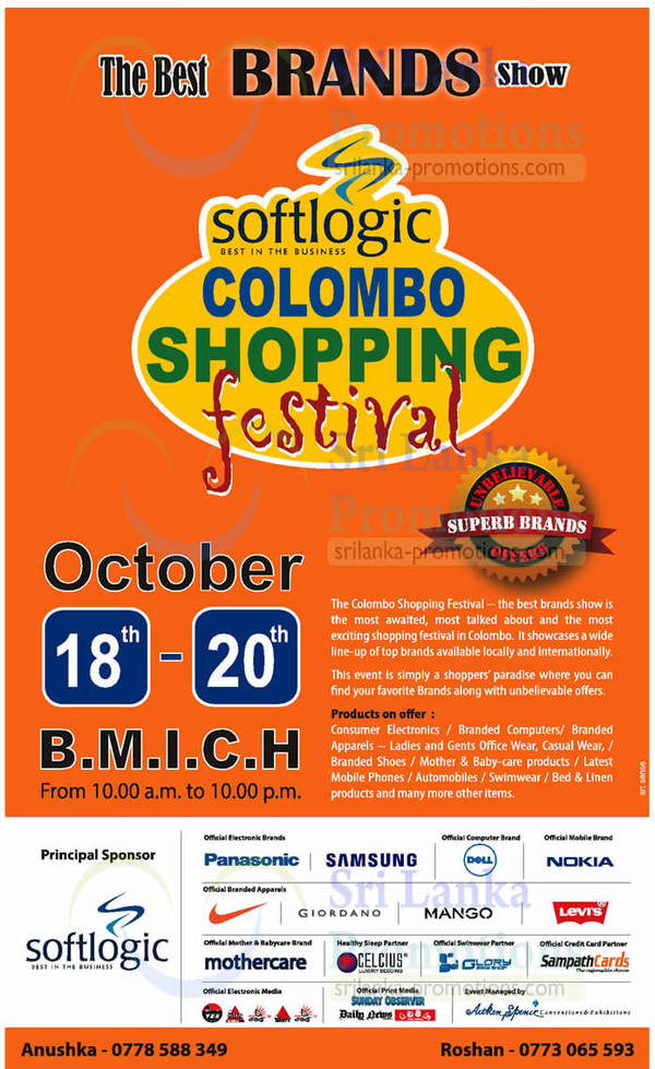 Featured image for Softlogic Colombo Shopping Festival @ BMICH 18 – 20 Oct 2013