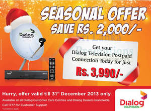 Featured image for Dialog Television Postpaid Connection Promo 22 Nov – 31 Dec 2013