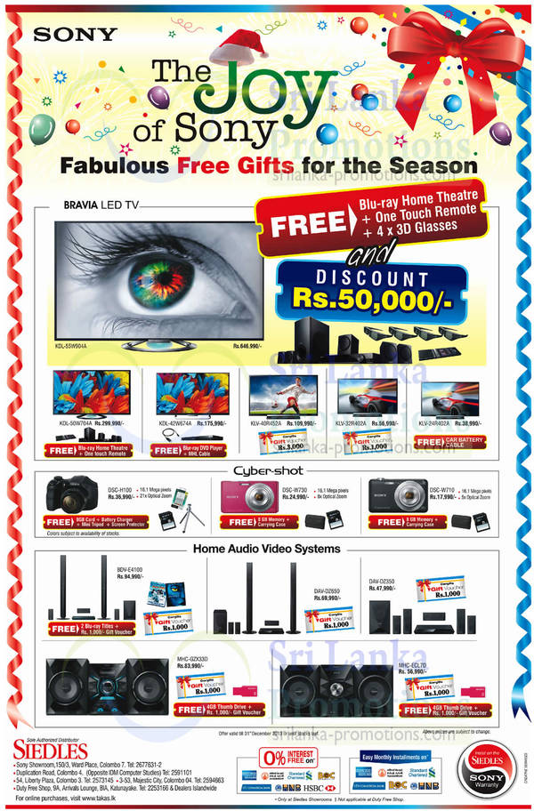 Featured image for Sony TVs, Digital Cameras, Home Theatre Systems & Other Electronics Offers 14 – 31 Dec 2013