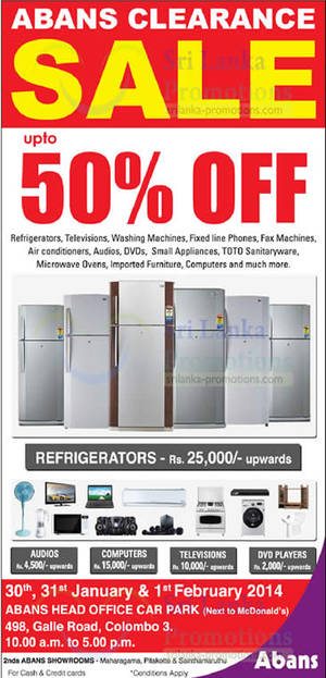 Featured image for Abans Clearance SALE Up To 50% Off @ Galle Road 30 Jan – 1 Feb 2014