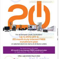 Read more about Abans 20% OFF & Interest Free Instalment Promo For Sampath Cardholders 30 Jan - 10 Mar 2014