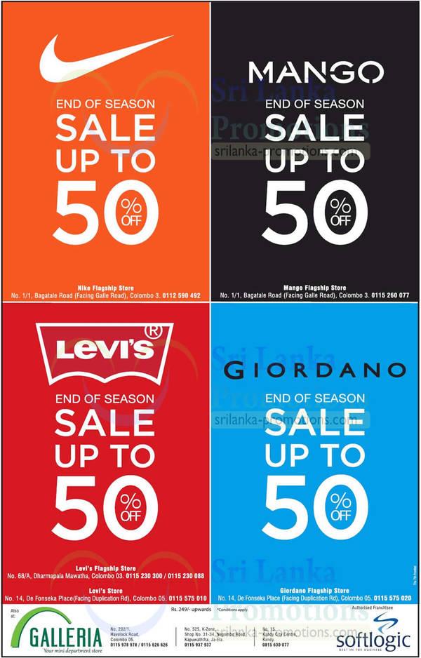 Featured image for Nike, Mango, Levi's & Giordano End of Season SALE 11 Jan 2014
