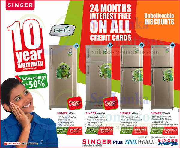 Featured image for Singer Refrigerator Special Price Offers 30 Jan 2014