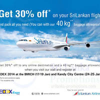 Read more about SriLankan Airlines 30% Off & 40Kg Baggage Allowance Promo @ BMICH 17 - 19 Jan 2014