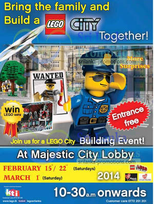 Featured image for Lego City Building Event @ Majestic City (Sat) 15 Feb – 1 Mar 2014