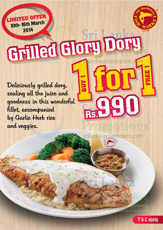 Manhattan fish market 1 for 1 grilled glory dory promo 10 for Oak city fish and chips menu