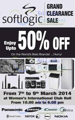 Featured image for Softlogic Up To 50% OFF Clearance SALE @ Women's International Club Hall 7 – 9 Mar 2014