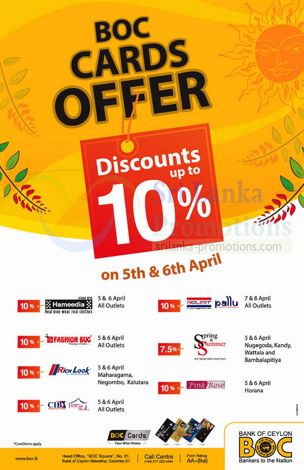 Featured image for BOC Cards Up To 10% OFF Card Offer @ 7 Brand Outlets 5 – 6 Apr 2014
