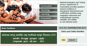 "G.C.E 2013 ""O/L"" Level Exam Results Released 3 Apr 2014"