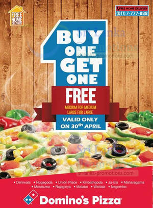Featured image for Domino's Pizza Buy 1 Get 1 FREE One Day Promo 30 Apr 2014