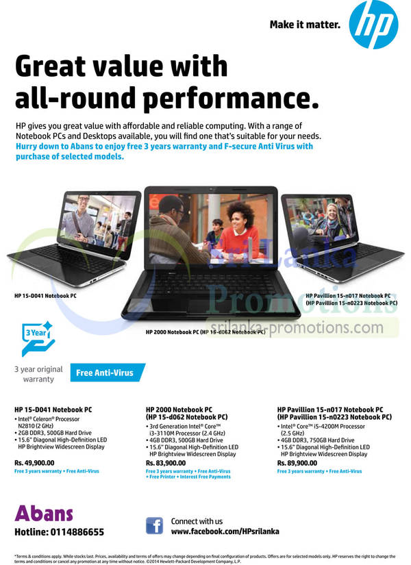 Featured image for Abans HP Notebooks Promotion Offers 29 Apr 2014