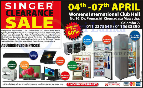 Featured image for Singer Clearance SALE @ Womens International Club Hall 4 – 7 Apr 2014