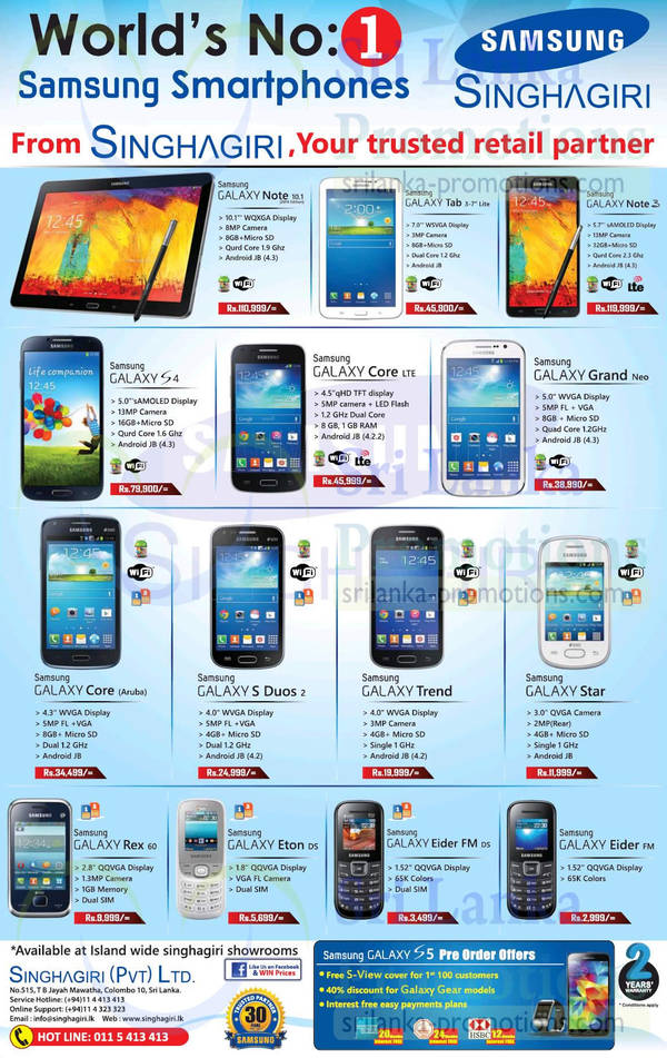 Singhagiri Samsung Mobile Phones & Smartphone Offers 9 Apr 2014