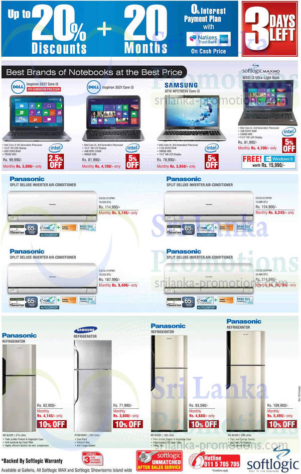 Featured image for Softlogic Notebooks, Air Conditioners & Fridges Offers 27 Apr 2014