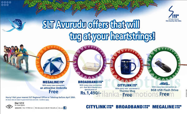 Featured image for SLT Sri Lanka Telecom New Connection FREE Gifts 3 – 30 Apr 2014