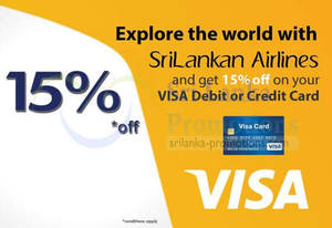 Featured image for SriLankan Airlines 15% OFF For Visa Cardmembers 1 – 21 May 2014
