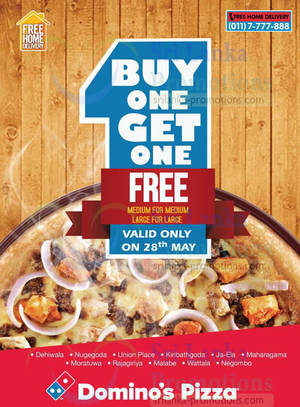 Domino's Pizza Buy 1 Get 1 FREE One Day Promo 28 May 2014