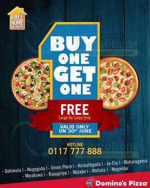 Featured image for Domino's Pizza Buy 1 Get 1 FREE One Day Promo 30 Jun 2014