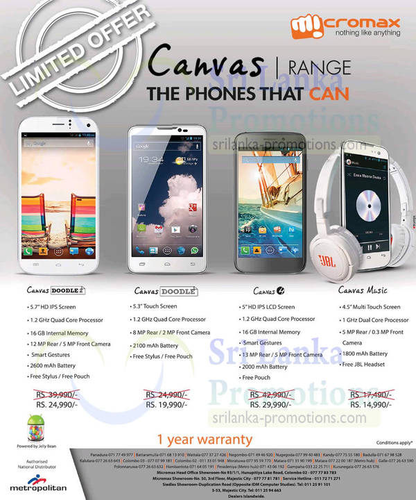 Featured image for Micromax Smartphones Canvas Range Smartphone Offers 29 Jun 2014