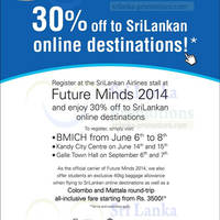 Read more about SriLankan Airlines 30% OFF Air Fares @ BMICH 6 - 8 Jun 2014