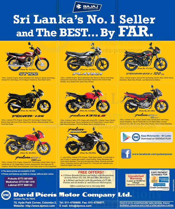 Bajaj Motorcycles David Pieris Price List Offers 6 Jul 2014