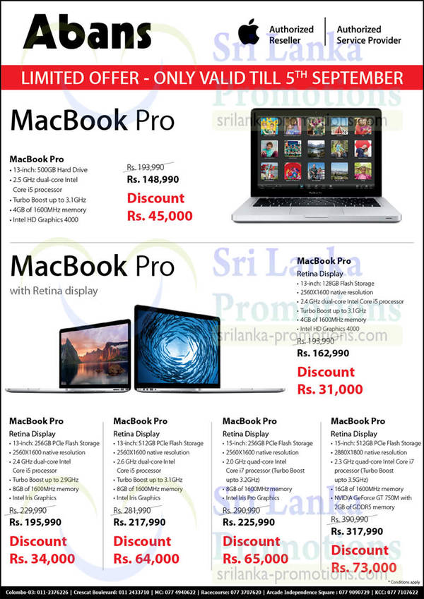Featured image for Abans Apple Macbook Pro Notebooks Promotion Offers Abans 28 Aug – 5 Sep 2014
