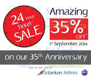Featured image for Srilankan Airlines 20% OFF All Flights 24hr Promo 1 Sep 2014