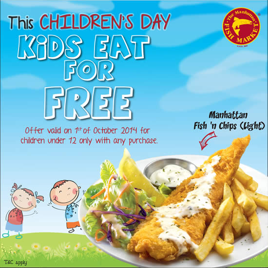 Manhattan fish market kids eat for free children s day for That fish place coupon