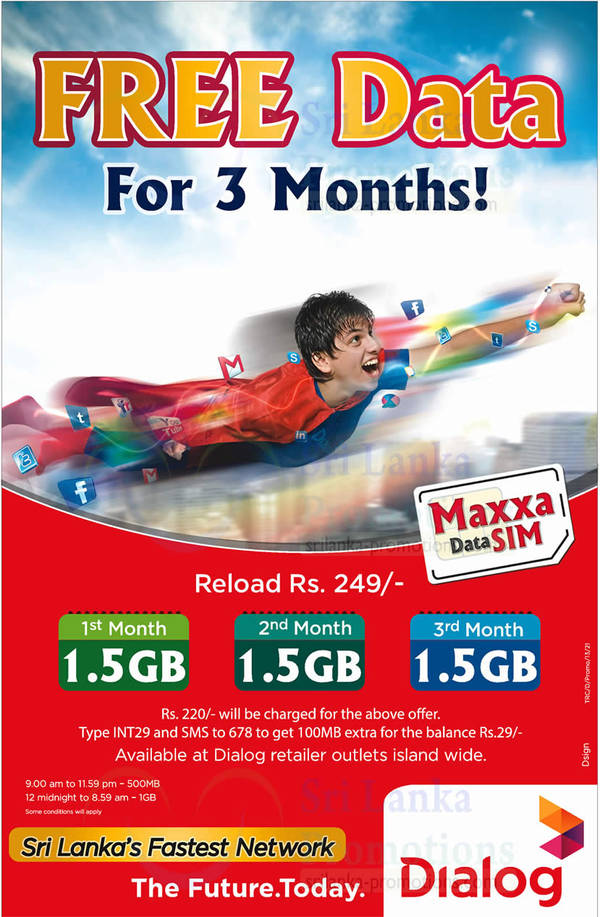 Featured image for Dialog Maxxa Data SIM Reload Rs 249 & Get 1.5GB 3-Mth Data 5 Oct 2014