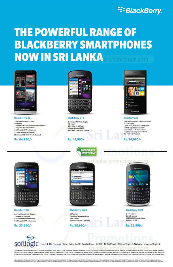 Featured image for Blackberry Smartphone Offers @ Softlogic 19 Oct 2014