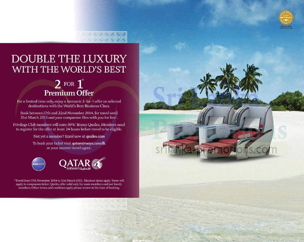 Featured image for Qatar Airways 2 for 1 Business Class Promo Air Fares 17 – 22 Nov 2014