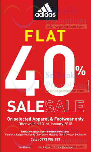 Featured image for Adidas 40% Off Footwear & Apparel Sale 18 – 31 Jan 2015