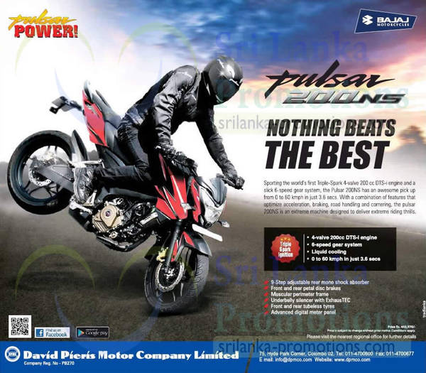 Featured image for Bajaj Pulsar 200NS Features & Price 14 Jan 2015