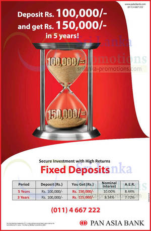 Featured image for Pan Asia Bank Up To 10% p.a. Fixed Deposit 18 Jan 2015