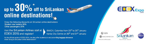 Featured image for Srilankan Airlines Up To 30% OFF @ EDEX Expo BMICH 23 – 25 Jan 2015