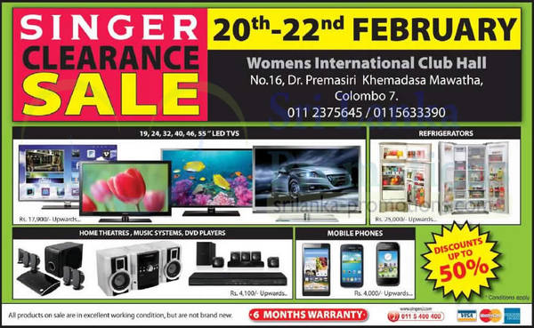 Featured image for Singer Clearance Sale @ Women's International Club 20 – 22 Feb 2015