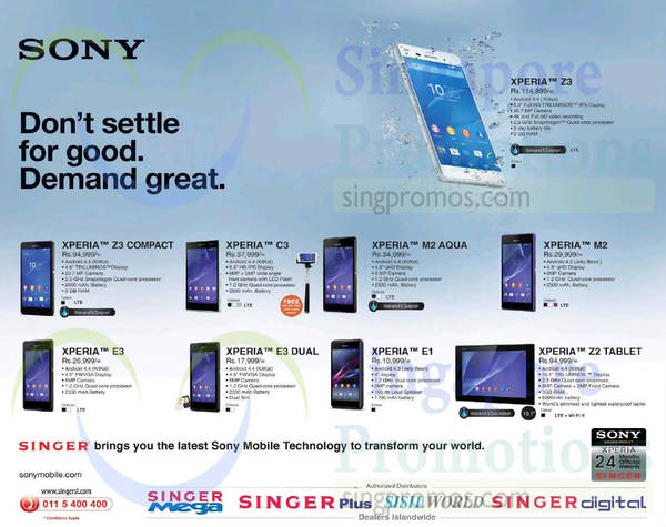 Featured image for Sony Xperia Smartphones Offers @ Singer 20 Feb 2015
