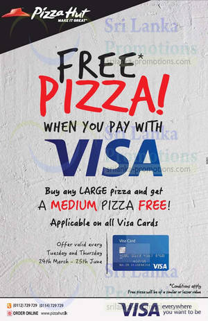 Featured image for Pizza Hut Free Medium Pizza with Large Pizza (Tues & Thurs) 24 Mar – 25 Jun 2015