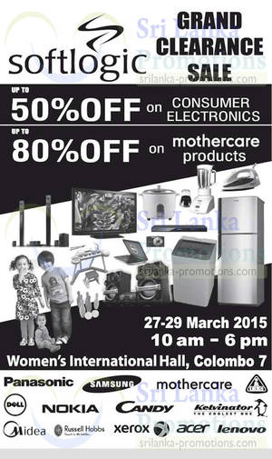 Featured image for Softlogic Up To 50% OFF Clearance SALE 27 – 29 Mar 2015