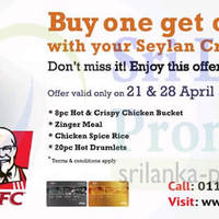 Read more about KFC Buy One Get One FREE For Seylan Cardmembers (Tuesdays) 21 - 28 Apr 2015