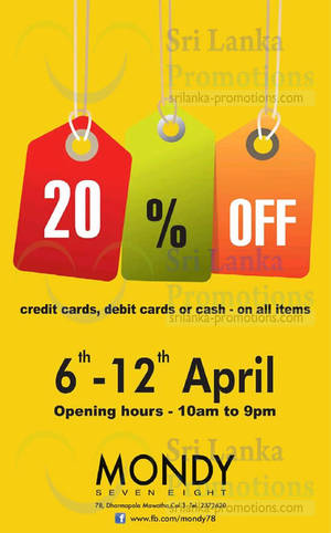 Featured image for Mondy 78 20% Off Promotion 6 – 12 Apr 2015