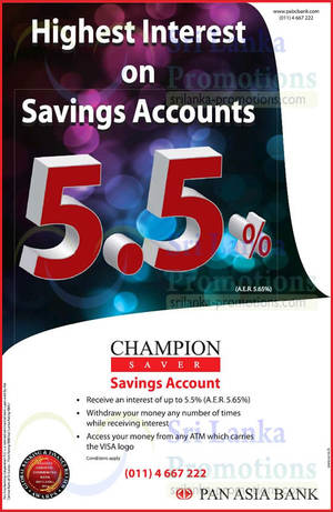 Featured image for Pan Asia Bank 5.5% p.a. Champion Saver Savings Account 18 May 2015