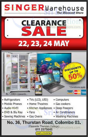 Featured image for Singer Warehouse Clearance Sale @ Colombo 22 – 24 May 2015
