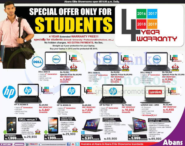 Abans Student Laptops/Notebook Offers 31 Aug 2015