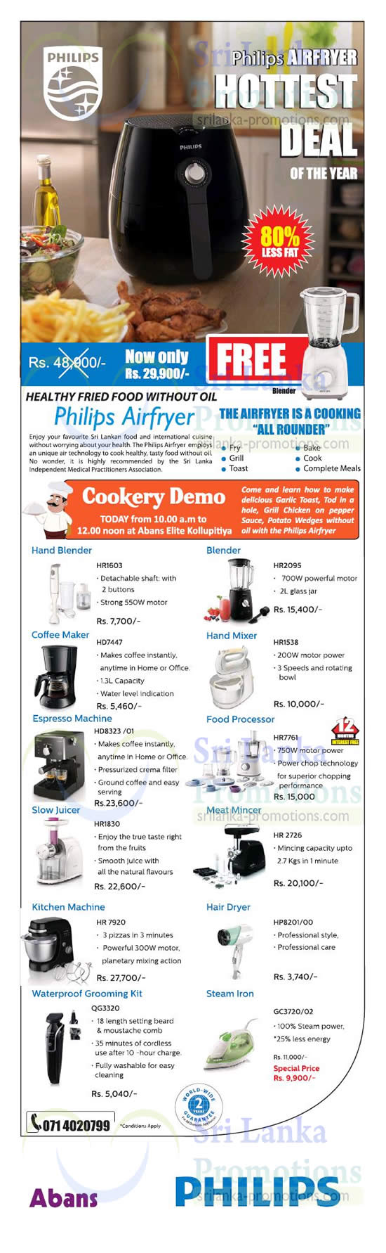 Philips Kitchen Appliances Offers @ Abans 22 Aug 2015